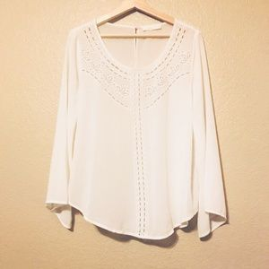 Lush Blouse Floral Lace Bell Sleeve Top